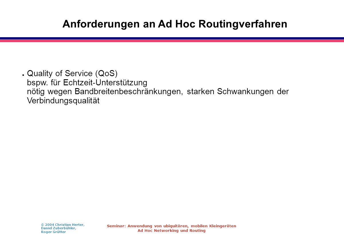 Anforderungen an Ad Hoc Routingverfahren
