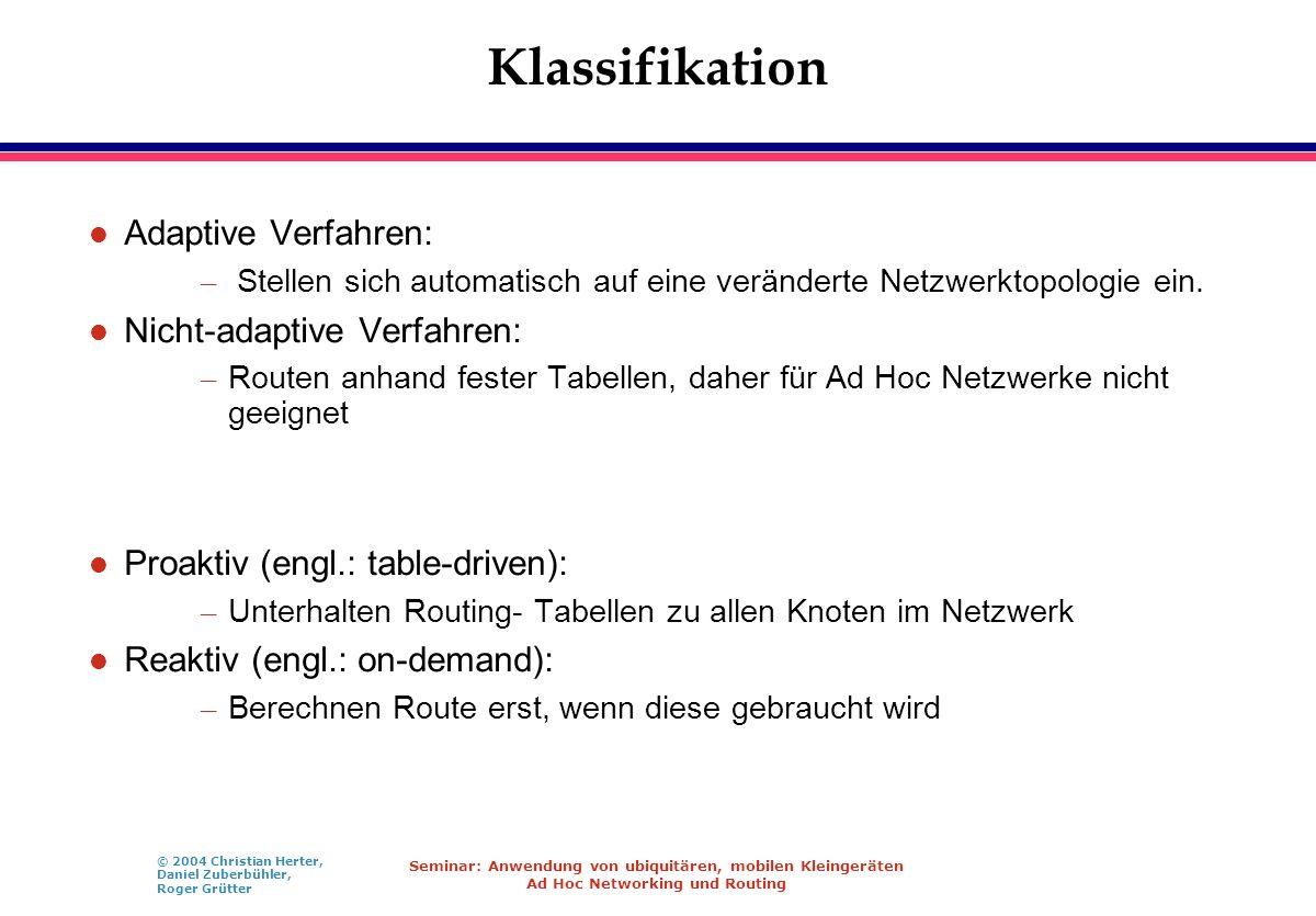 Klassifikation Adaptive Verfahren: Nicht-adaptive Verfahren: