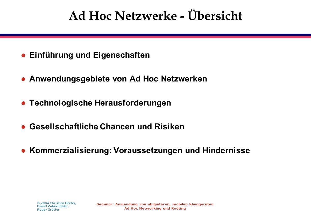Ad Hoc Netzwerke - Übersicht
