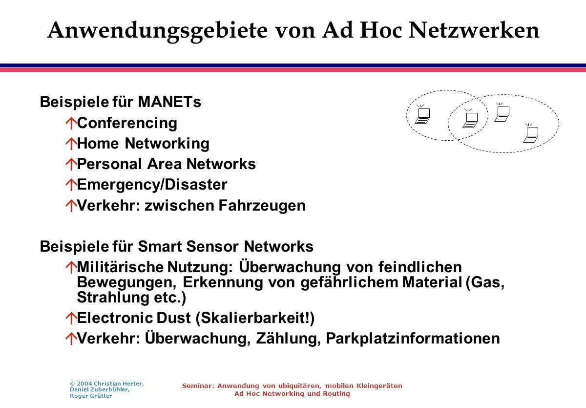 Anwendungsgebiete von Ad Hoc Netzwerken