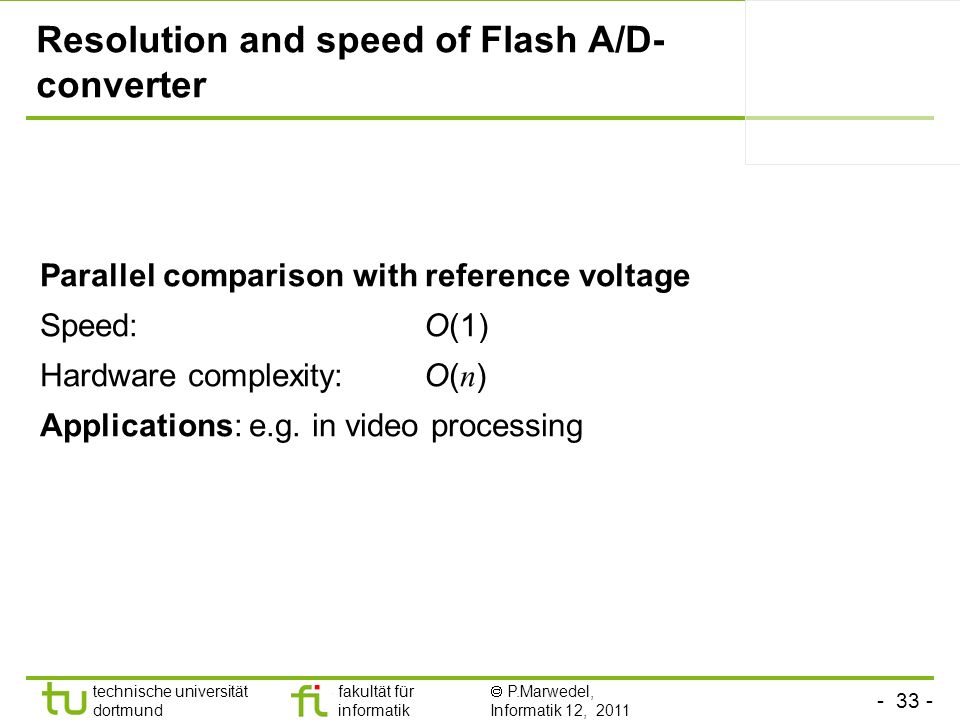 Resolution and speed of Flash A/D-converter