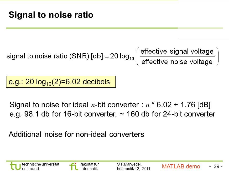 Signal to noise ratio e.g.: 20 log10(2)=6.02 decibels