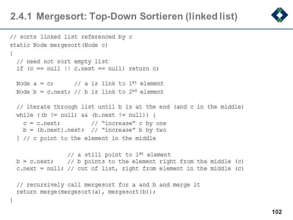 2.4.1 Mergesort: Top-Down Sortieren (linked list)