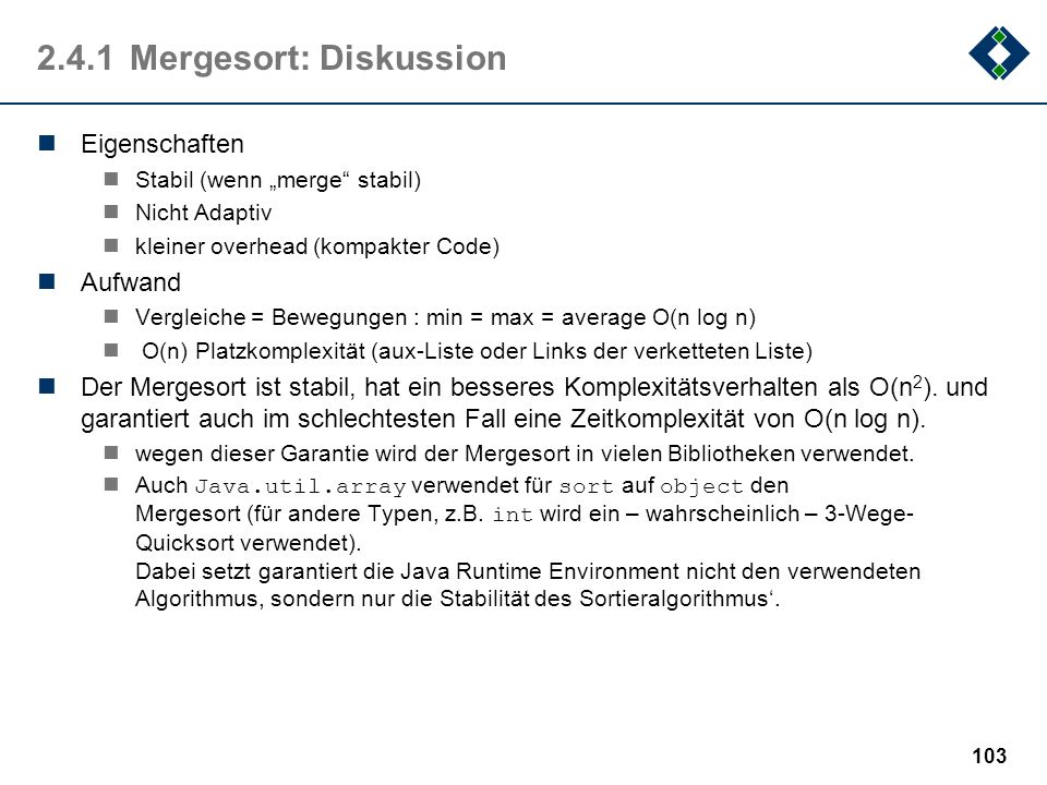 2.4.1 Mergesort: Diskussion