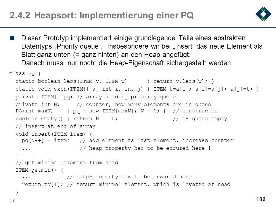 2.4.2 Heapsort: Implementierung einer PQ