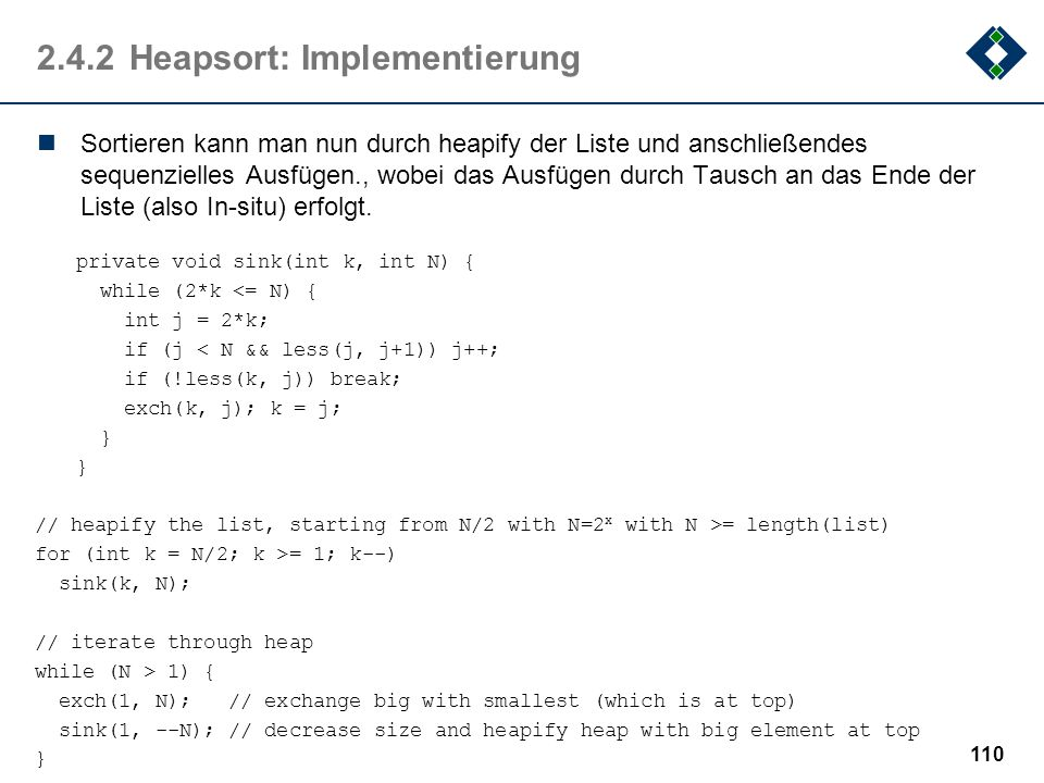2.4.2 Heapsort: Implementierung