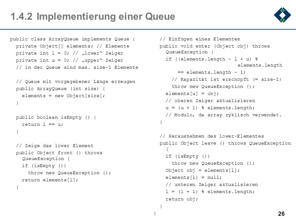 1.4.2 Implementierung einer Queue