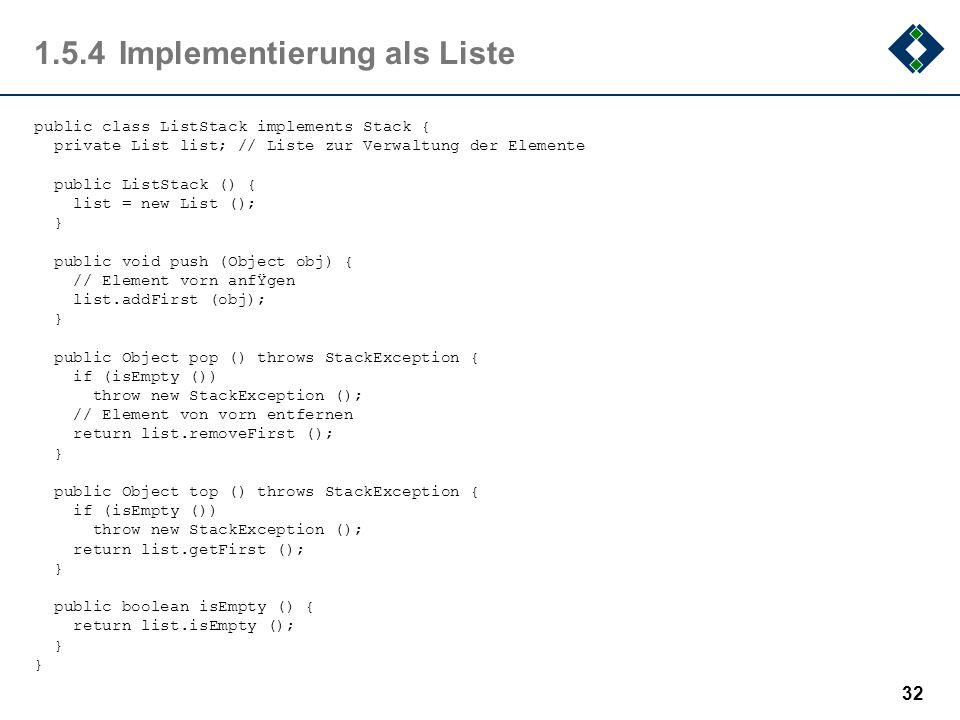 1.5.4 Implementierung als Liste
