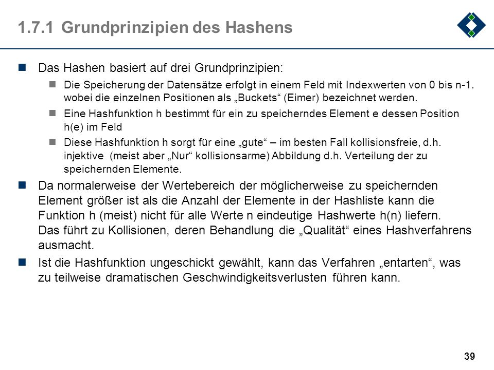 1.7.1 Grundprinzipien des Hashens