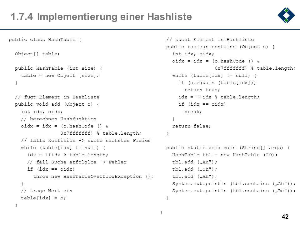 1.7.4 Implementierung einer Hashliste