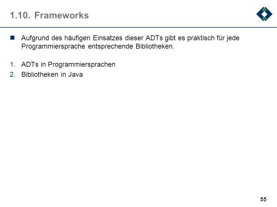 1.10. FrameworksAufgrund des häufigen Einsatzes dieser ADTs gibt es praktisch für jede Programmiersprache entsprechende Bibliotheken.