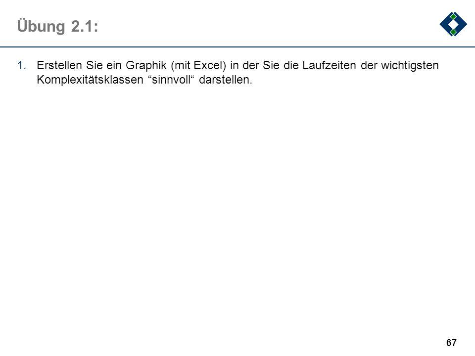 Übung 2.1:Erstellen Sie ein Graphik (mit Excel) in der Sie die Laufzeiten der wichtigsten Komplexitätsklassen sinnvoll darstellen.