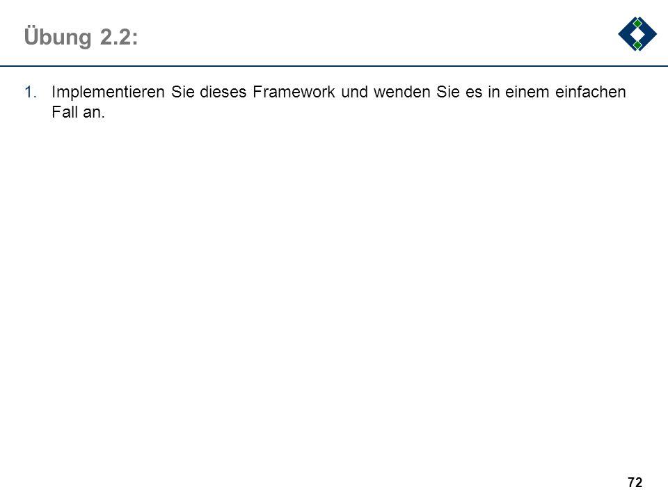 Übung 2.2: Implementieren Sie dieses Framework und wenden Sie es in einem einfachen Fall an.