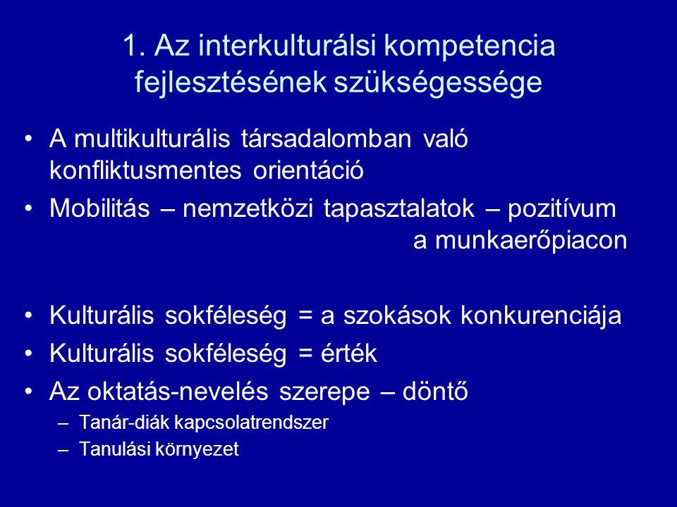 1. Az interkulturálsi kompetencia fejlesztésének szükségessége