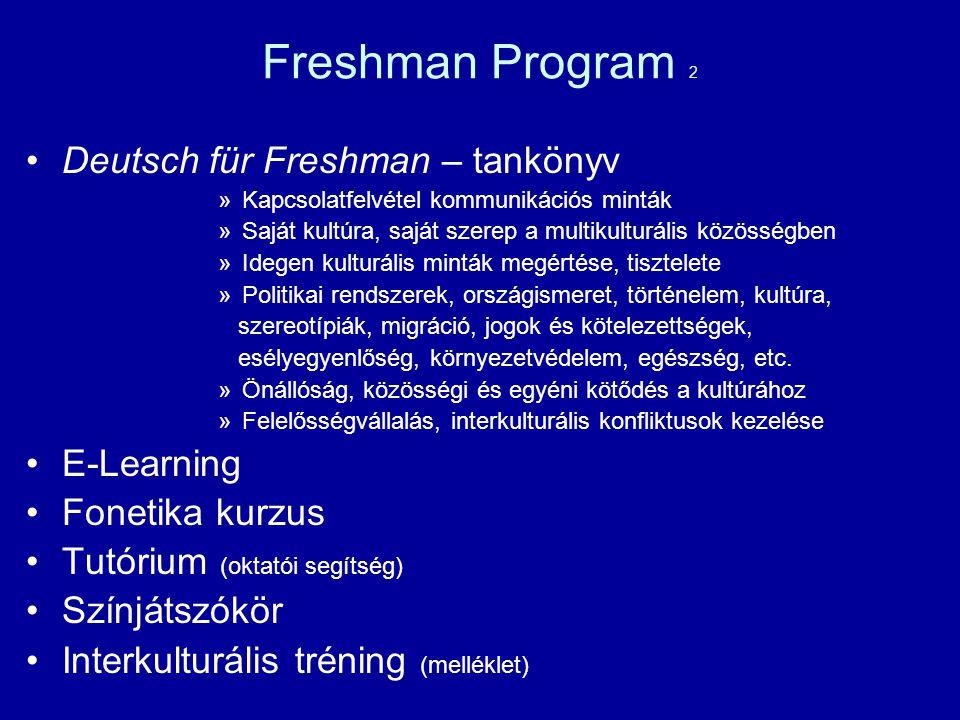 Freshman Program 2 Deutsch für Freshman – tankönyv E-Learning