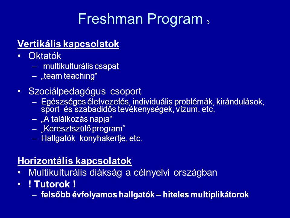 Freshman Program 3 Vertikális kapcsolatok Oktatók