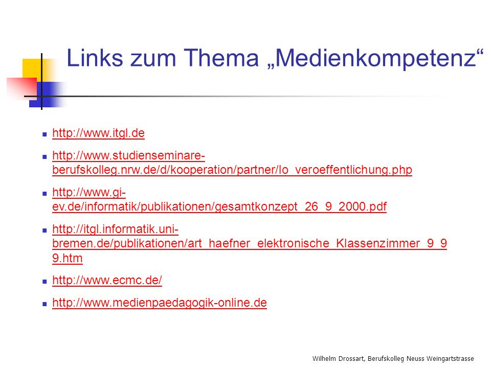 "Links zum Thema ""Medienkompetenz"