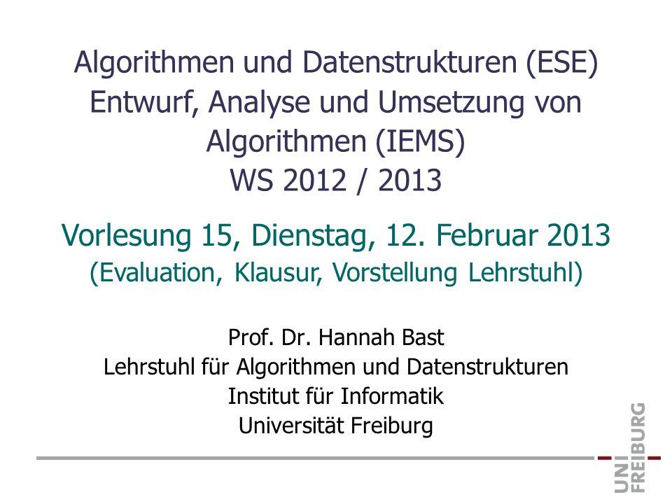 Vorlesung 15, Dienstag, 12. Februar 2013