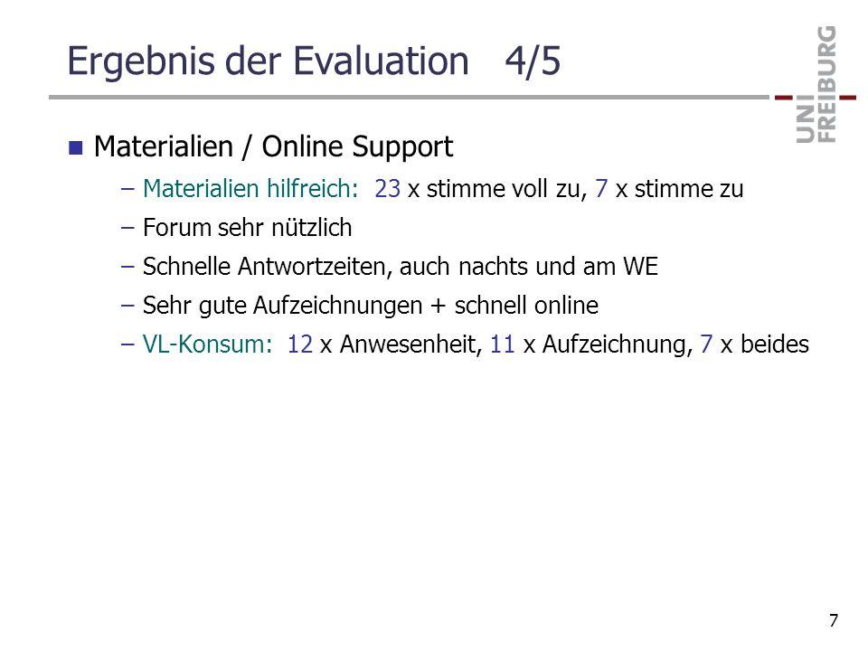 Ergebnis der Evaluation 4/5