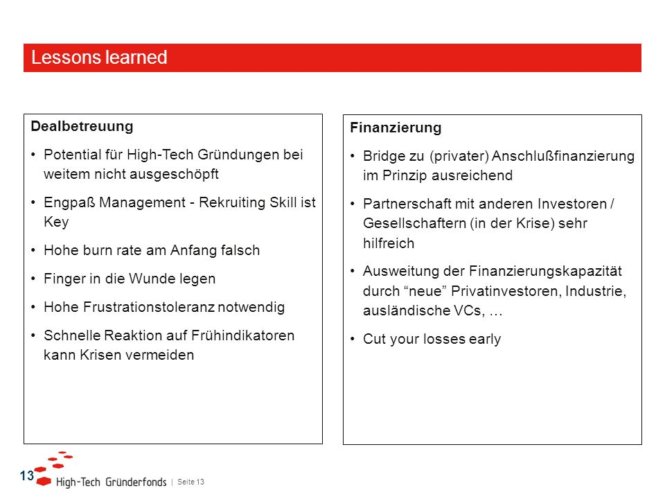 Lessons learned Dealbetreuung Finanzierung