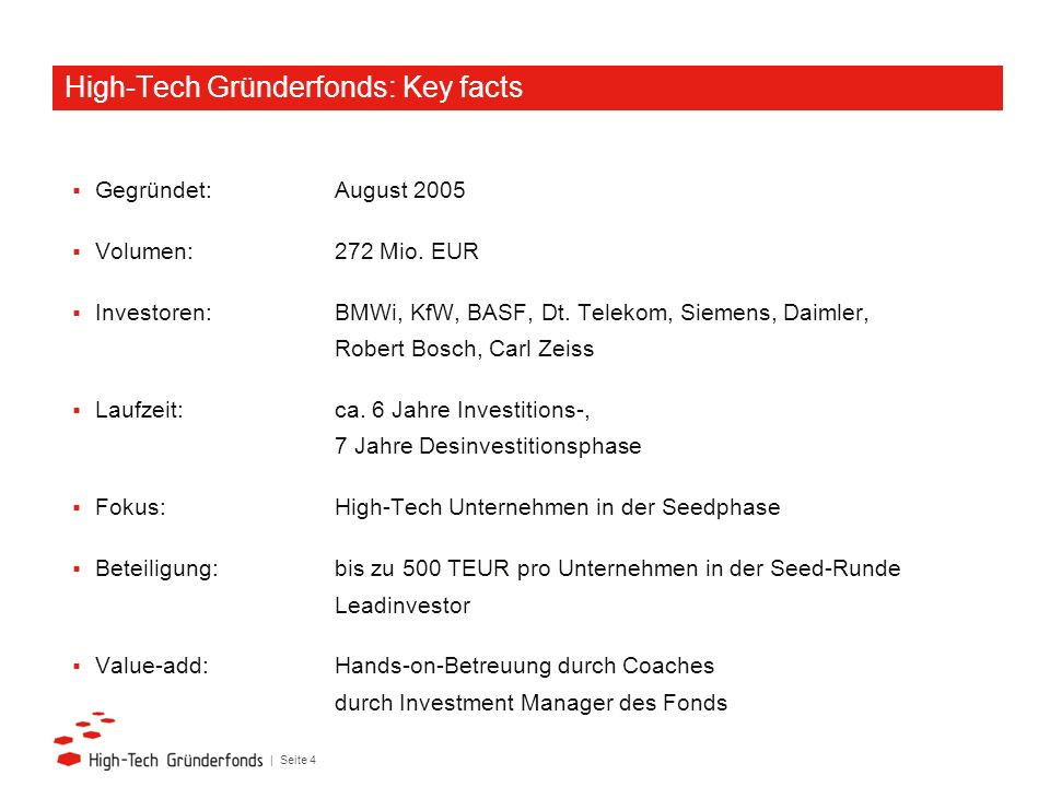 High-Tech Gründerfonds: Key facts