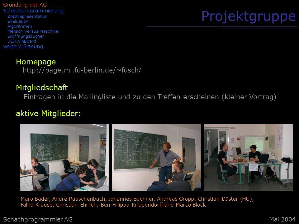 Projektgruppe Homepage Mitgliedschaft