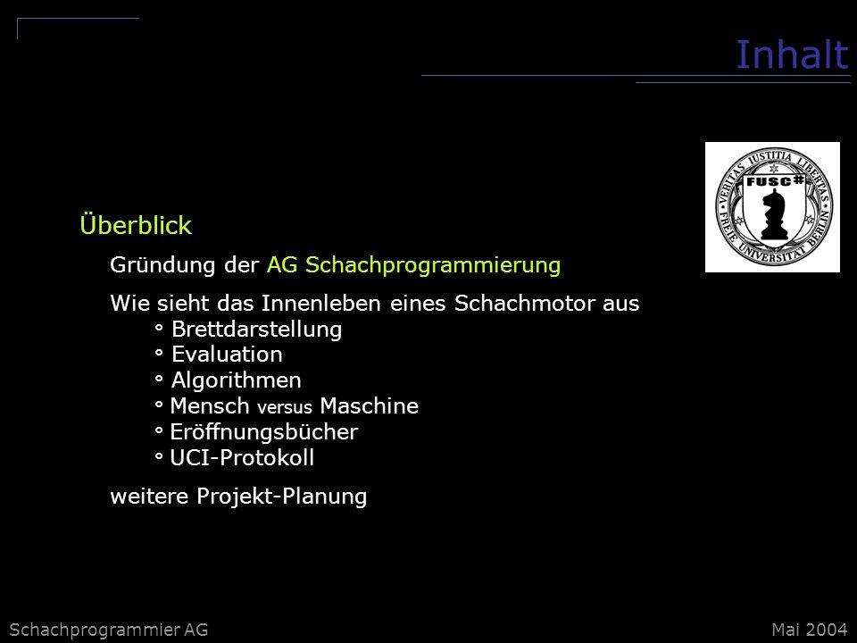 Inhalt Überblick Gründung der AG Schachprogrammierung