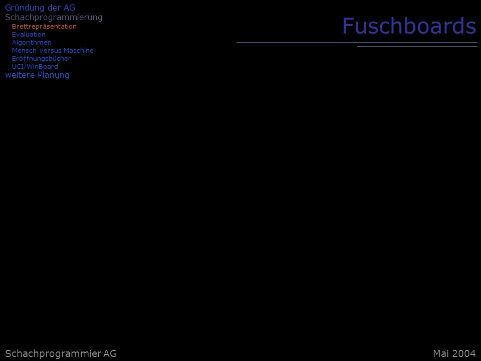 Fuschboards Schachprogrammier AG Mai 2004 Gründung der AG