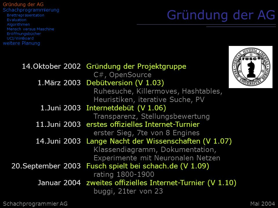 Gründung der AG 14.Oktober 2002 1.März 2003 1.Juni 2003 11.Juni 2003