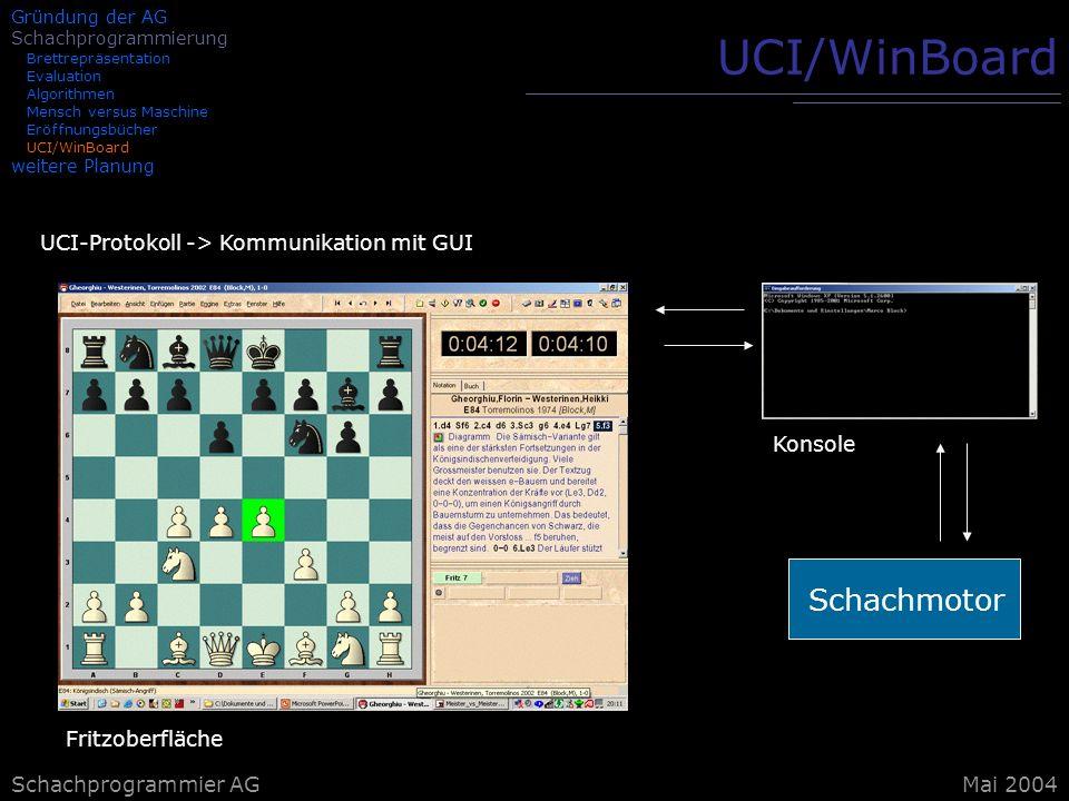 UCI/WinBoard Schachmotor UCI-Protokoll -> Kommunikation mit GUI