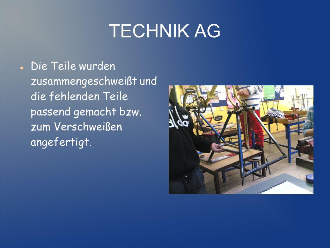 TECHNIK AG Die Teile wurden zusammengeschweißt und die fehlenden Teile passend gemacht bzw.