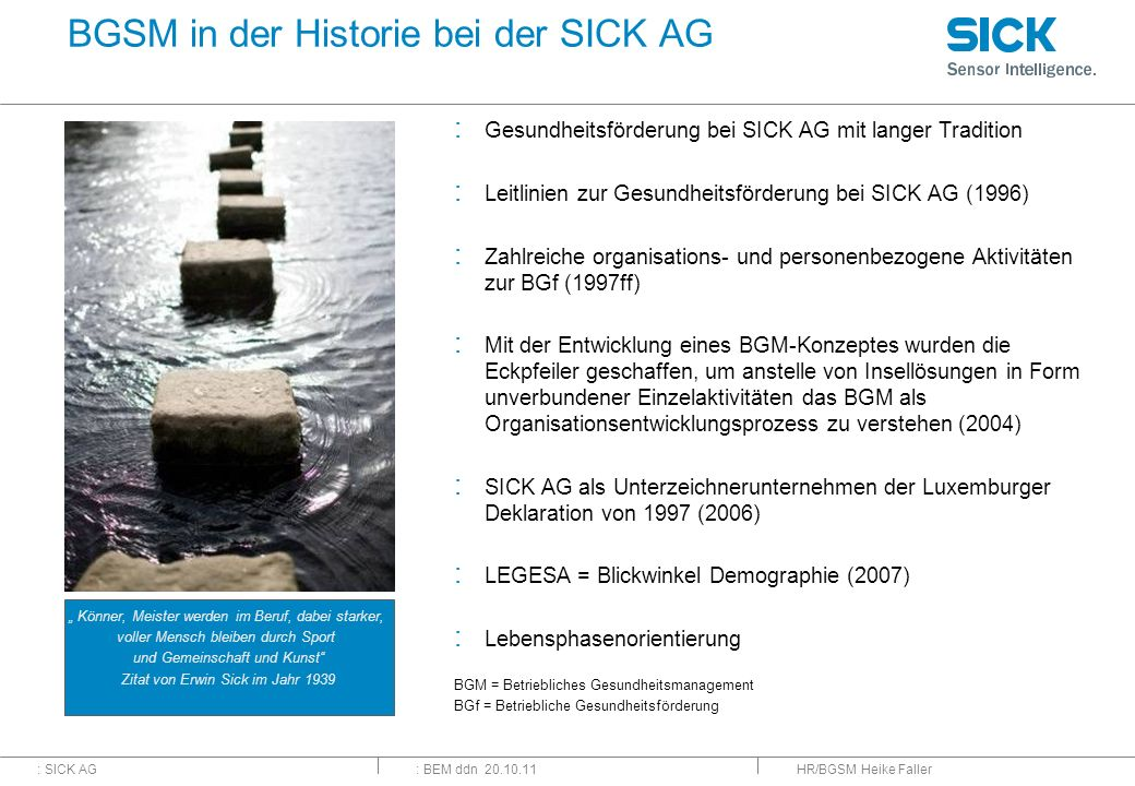 BGSM in der Historie bei der SICK AG