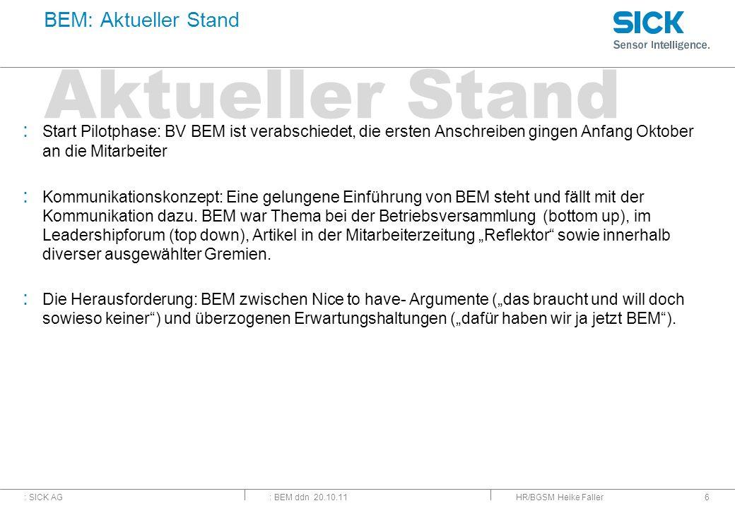 Aktueller Stand BEM: Aktueller Stand