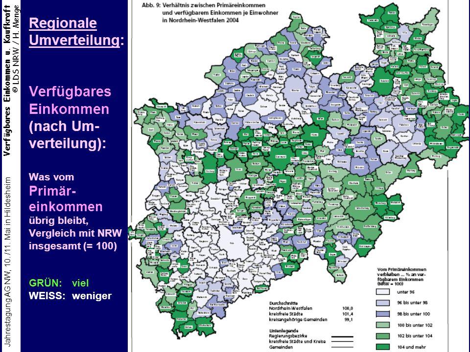 Regionale Umverteilung: Verfügbares Einkommen (nach Um-verteilung): Was vom Primär-einkommen übrig bleibt, Vergleich mit NRW insgesamt (= 100) GRÜN: viel WEISS: weniger