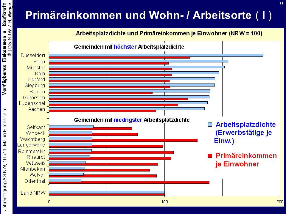 Primäreinkommen und Wohn- / Arbeitsorte ( I )