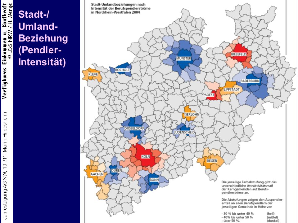 Stadt-/ Umland- Beziehung (Pendler- Intensität)