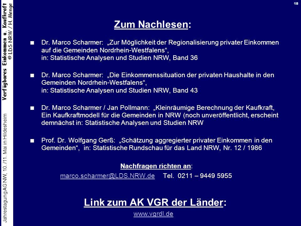 Link zum AK VGR der Länder: