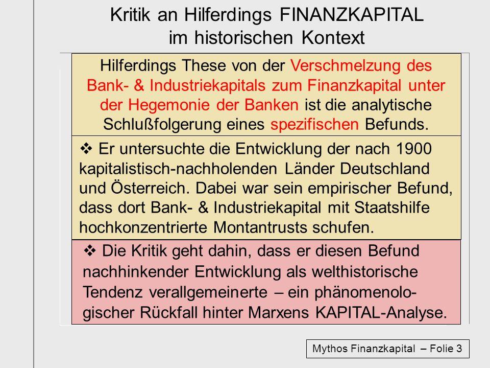 Kritik an Hilferdings FINANZKAPITAL im historischen Kontext