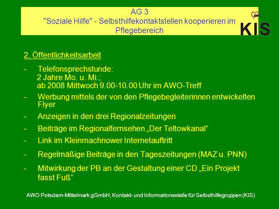 2. Öffentlichkeitsarbeit Telefonsprechstunde: 2 Jahre Mo. u. Mi.;