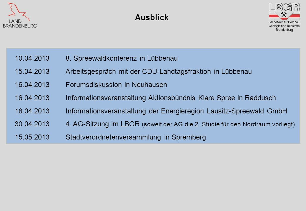 Ausblick 10.04.2013 8. Spreewaldkonferenz in Lübbenau