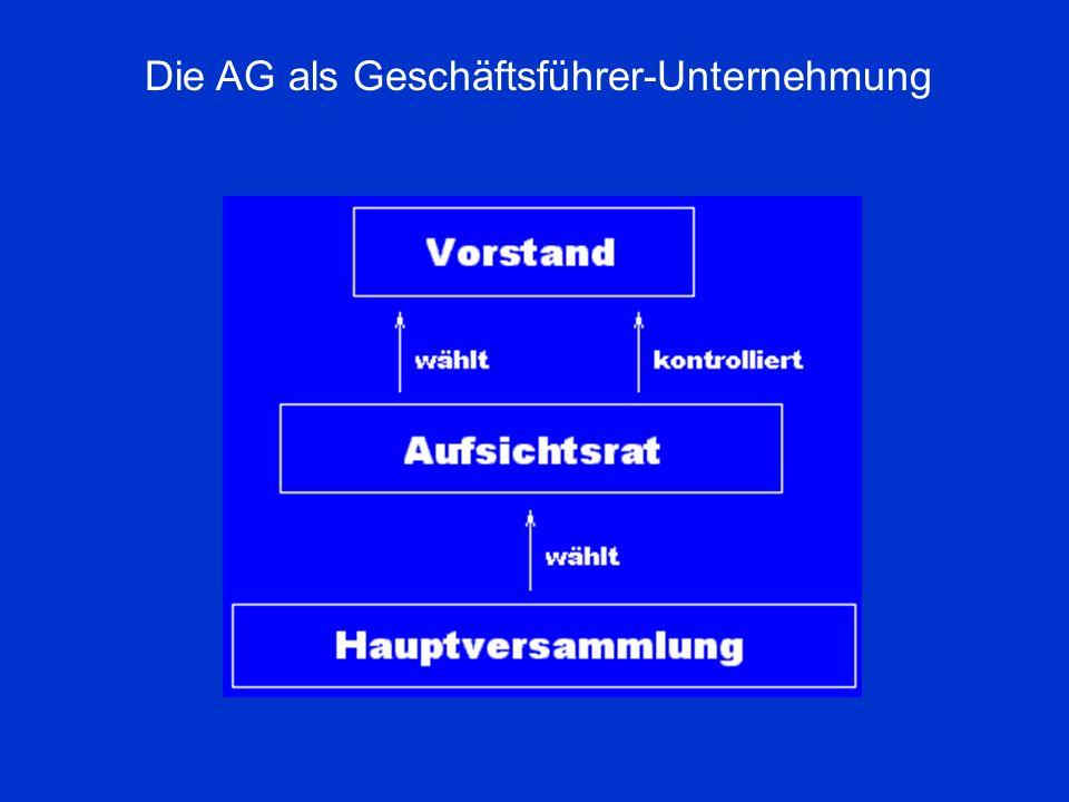 Die AG als Geschäftsführer-Unternehmung