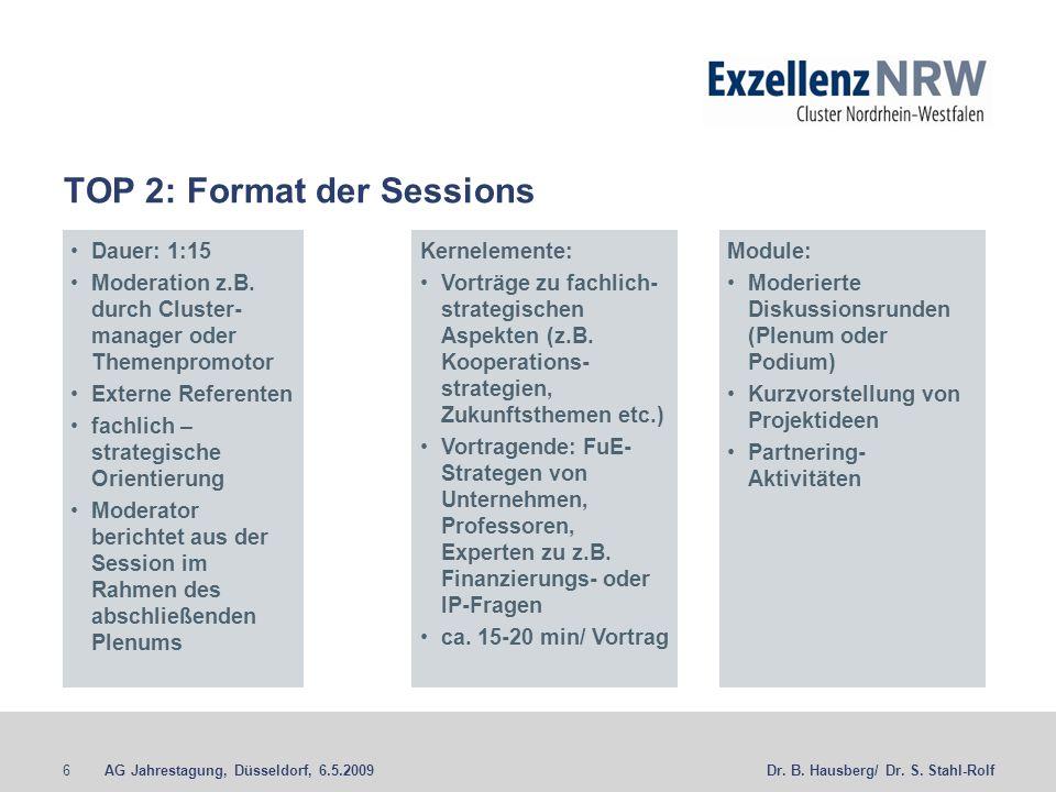 TOP 2: Format der Sessions