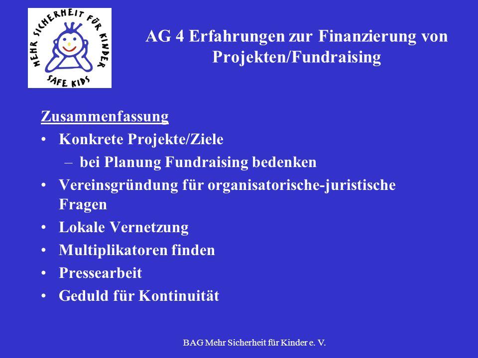AG 4 Erfahrungen zur Finanzierung von Projekten/Fundraising