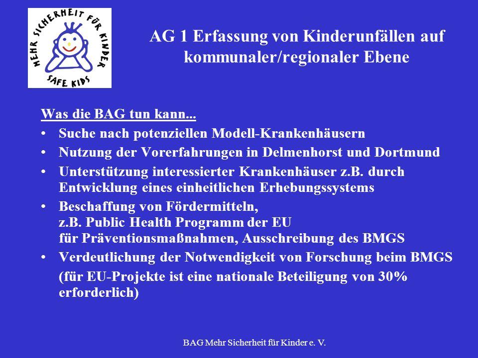 AG 1 Erfassung von Kinderunfällen auf kommunaler/regionaler Ebene