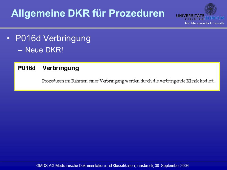 Allgemeine DKR für Prozeduren