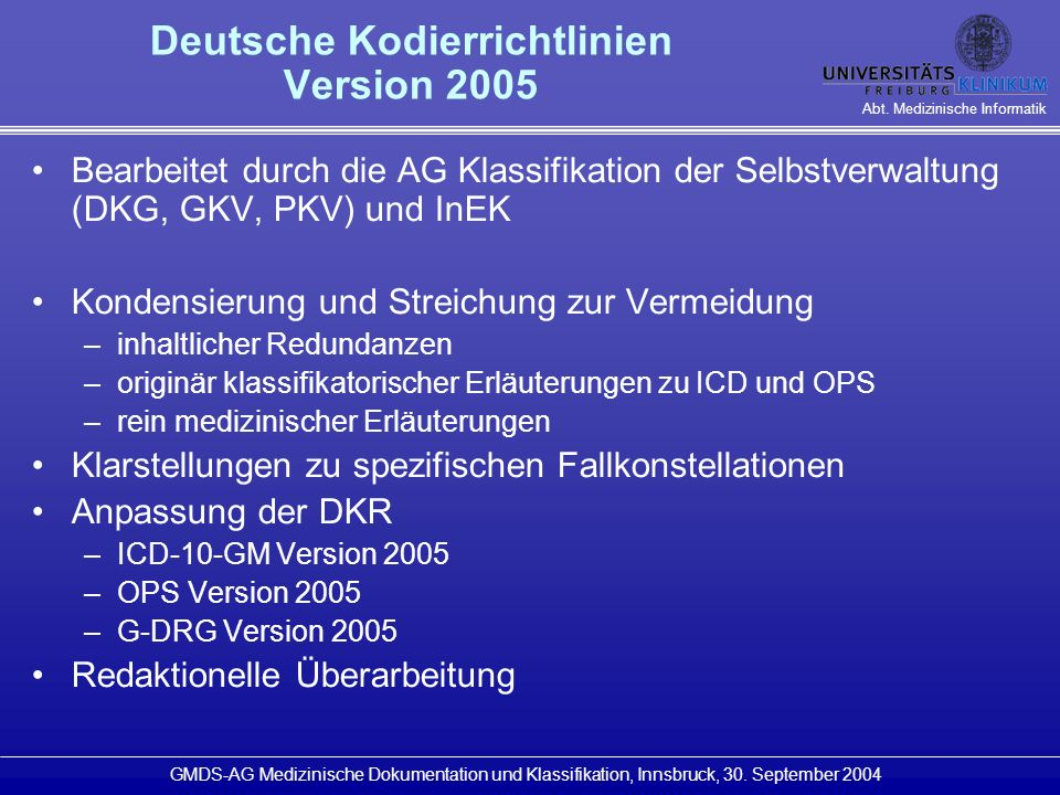 Deutsche Kodierrichtlinien Version 2005