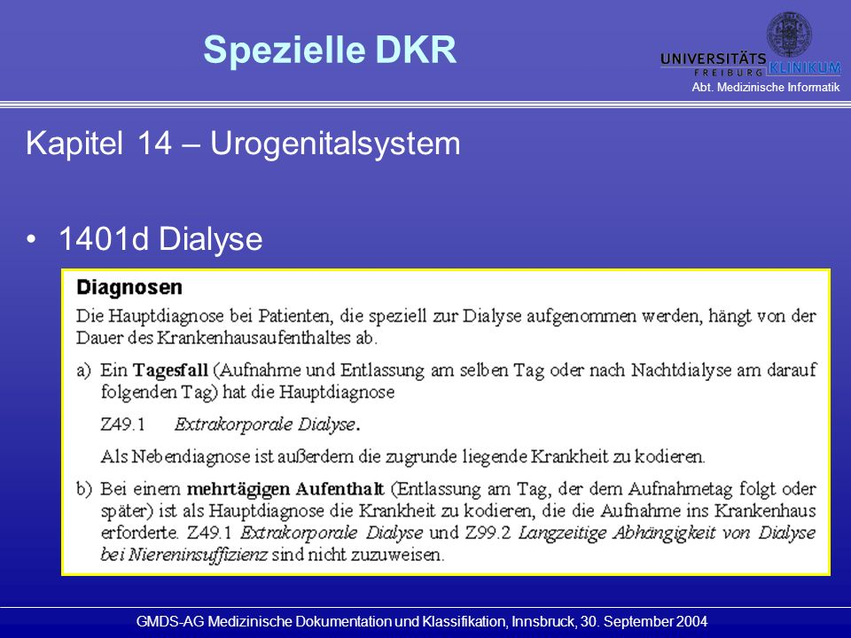 Spezielle DKR Kapitel 14 – Urogenitalsystem 1401d Dialyse
