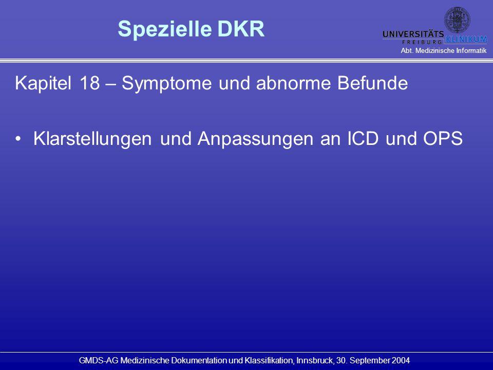 Spezielle DKR Kapitel 18 – Symptome und abnorme Befunde