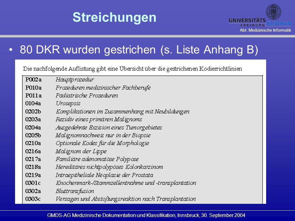 Streichungen 80 DKR wurden gestrichen (s. Liste Anhang B)