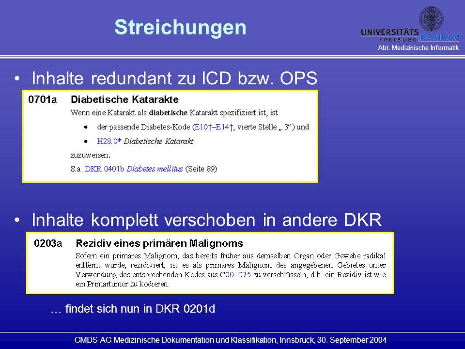 Streichungen Inhalte redundant zu ICD bzw. OPS
